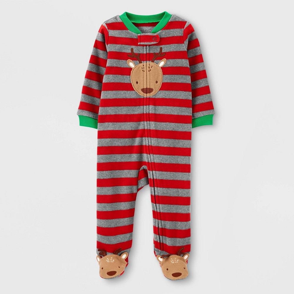 Image of Baby Boys' Reindeer Striped Fleece Sleep 'N Play - Just One You made by carter's Red 3M, Boy's