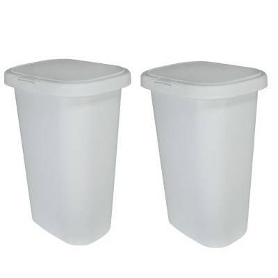 Rubbermaid 13 Gallon Rectangular Spring-Top Lid Wastebasket Trash Can (2 Pack)