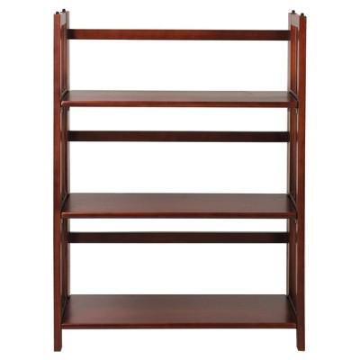 "38"" Folding 3 Tier Bookshelf Stackable - Flora Home"