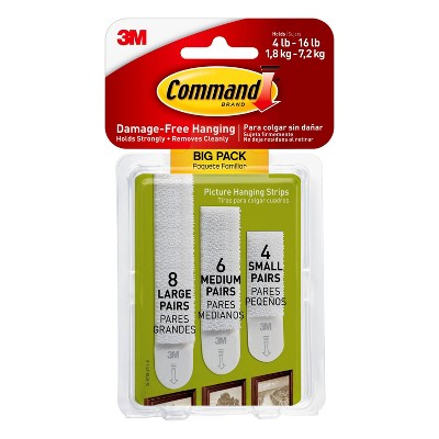 Command 8 Sets Large/6 Sets Medium/4 Sets Small Picture Hanging Strips Big Pack White