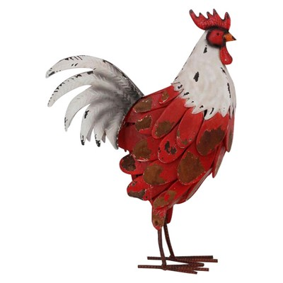 """Wood Chipped Rooster Figurine Red/White 16.5"""" - Drew DeRose"""