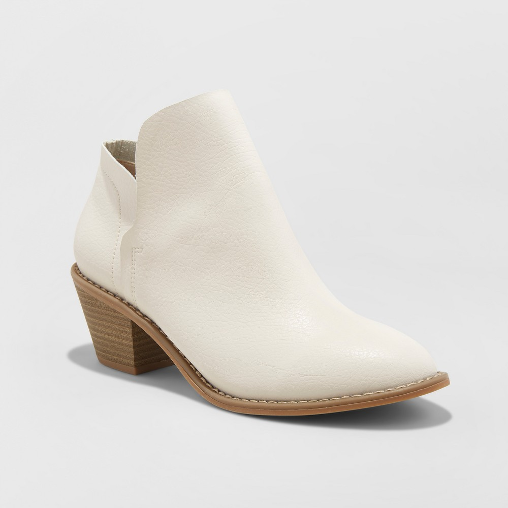 Women's Indie Heeled Booties - Universal Thread White 10
