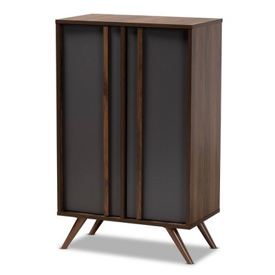 2 Door Naoki Two-Tone Wood Shoe Cabinet Gray/Walnut - Baxton Studio