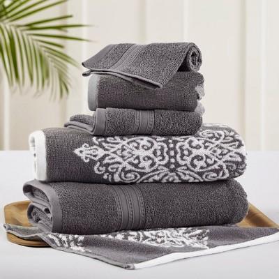 Modern Threads 6 Piece Reversible Yarn Dyed Jacquard Towel Set, Artesia Damask.