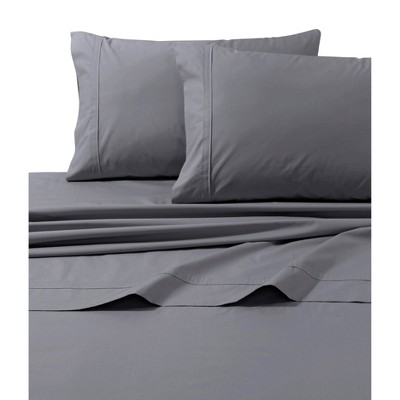 King 500 Thread Count Extra Deep Pocket Sateen Fitted Sheet Gray - Tribeca Living
