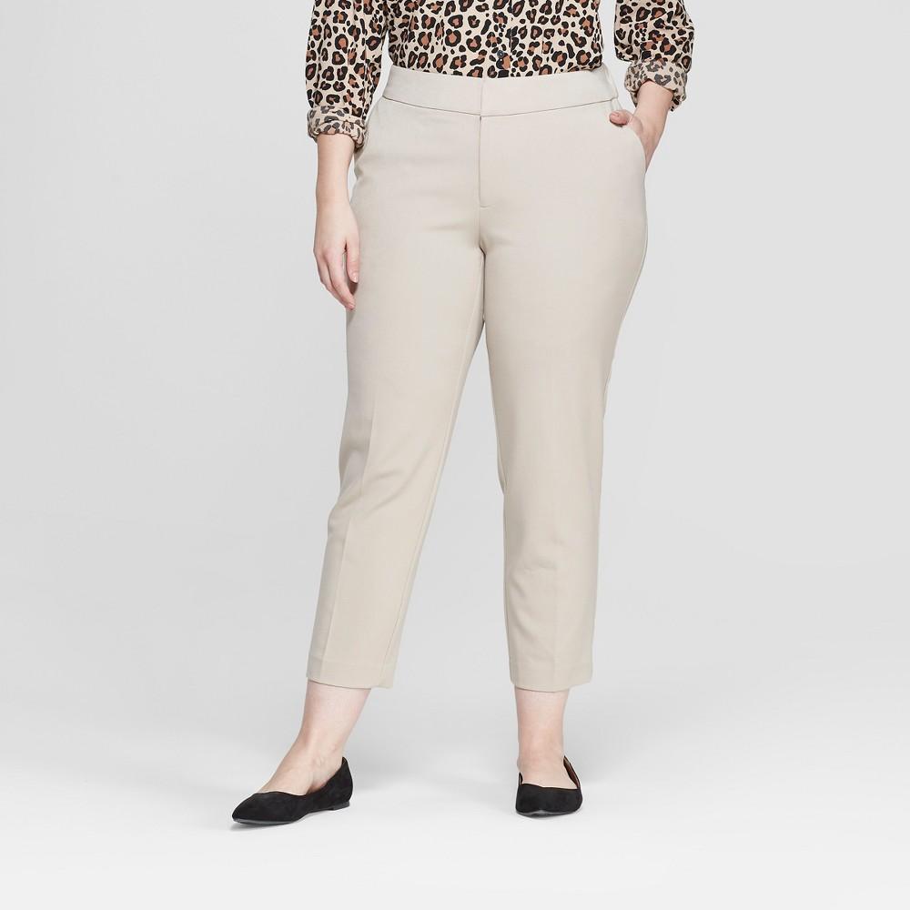 Women's Plus Size Slim Ankle Trouser Pants - Ava & Viv Khaki (Green) 14W