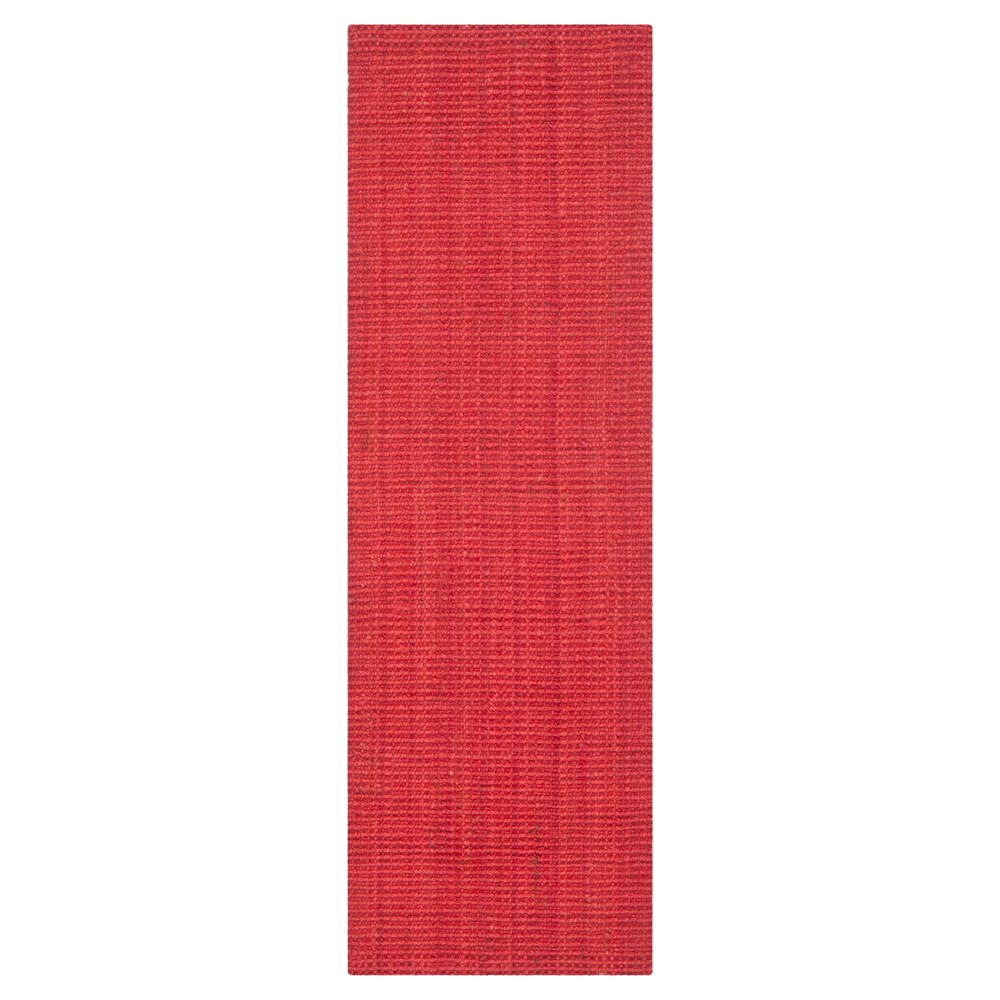 Red Solid Woven Runner 2'3x7' - Safavieh