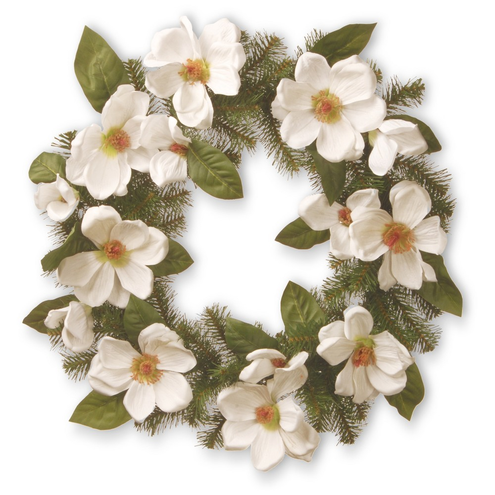"""Image of """"Artificial North Valley Spruce Magnolia Wreath White 24"""""""" - National Tree Company"""""""