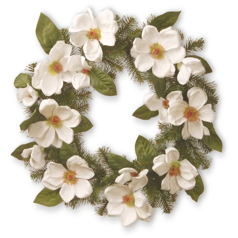 """Artificial North Valley Spruce Magnolia Wreath White 24"""" - National Tree Company - image 1 of 2"""