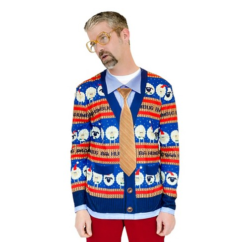 Mens Baa Humbug Ugly Christmas Sweater Costume Long Sleeve T Shirt