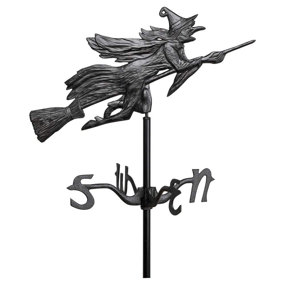 24 Flying Witch Garden Weathervane - Black - Whitehall Products