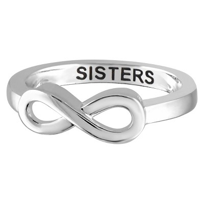"Women's Sterling Silver Elegantly Engraved Infinity Ring with ""SISTERS"""