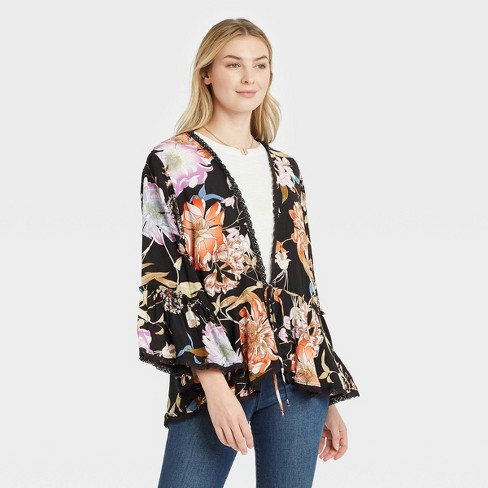Women's Floral Print Tie-Front Jacket - Knox Rose™ - image 1 of 3