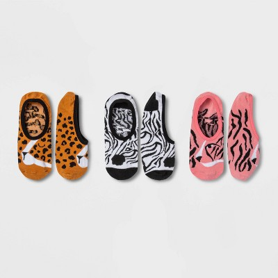 Women's Safari Animals 3pk Liner Socks - Xhilaration™ Brown/Black/Pink 4-10
