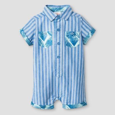 Baby Boys' Romper - Cat & Jack™ Blue Stripe 0-3 Months