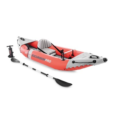 Intex 68303EP Excursion Pro Single Person Inflatable Vinyl Fishing Kayak Set with Aluminum Oar and High Output Pump for Lakes, Rivers and Ocean, Red