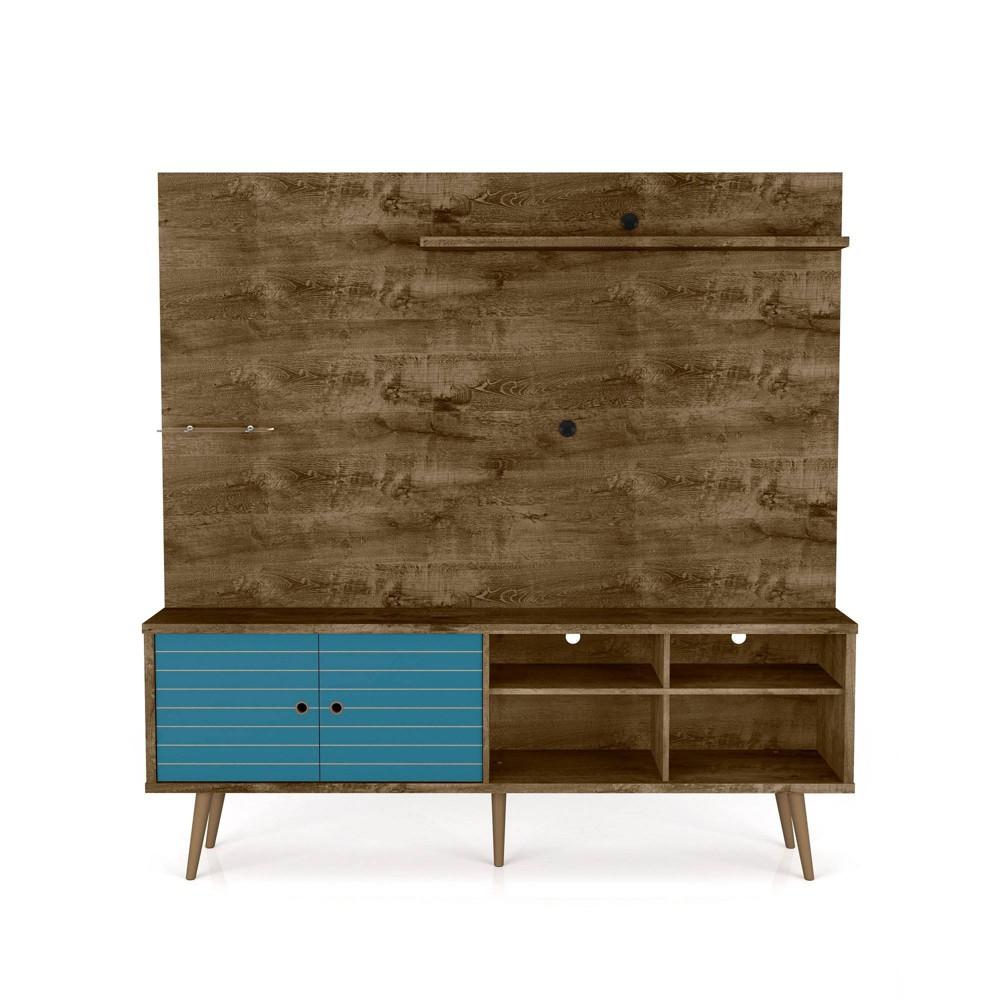 70 87 Liberty Freestanding Entertainment Center With Overhead Shelf Rustic Brown Aqua Blue Manhattan Comfort