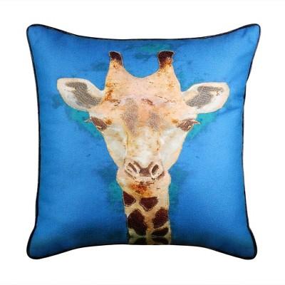 "18""x18"" Giraffe Reversible Square Pillow Blue - Edie@Home"