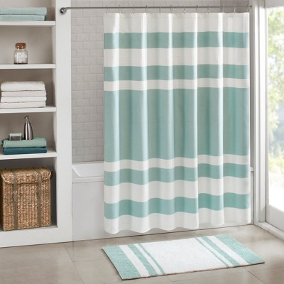 Spa Waffle Shower Curtain with 3M Treatment Aqua