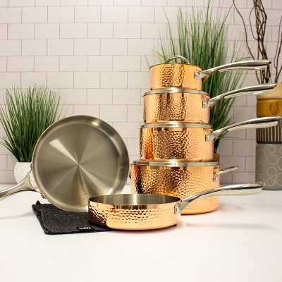 BergHOFF Vintage Collection Copper 10Pc Tri-Ply Cookware Set, Hammered Exterior