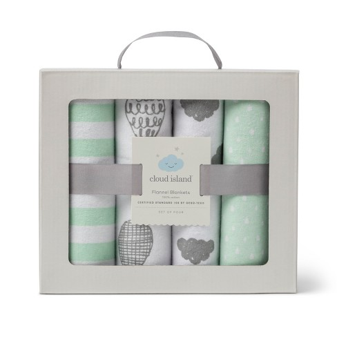 Flannel Baby Blanket In The Clouds 4pk - Cloud Island™ Green   Target c7b48495d
