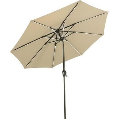 Sunnydaze Outdoor Solution-Dyed Sunbrella Patio Umbrella with Solar Light Bars and Tilt - 9' - Beige