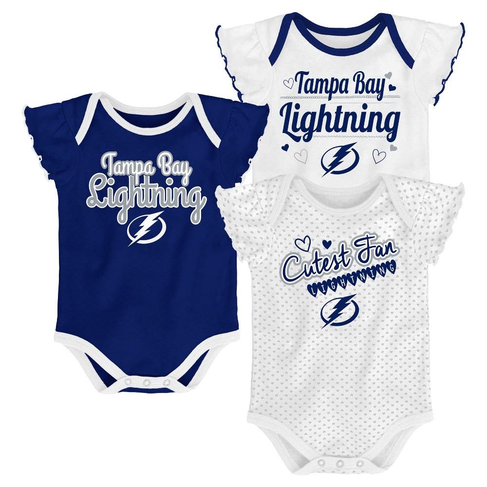 Tampa Bay Lightning Girls' Winning Goal 3pk Body Suit Set 6-9M, Multicolored