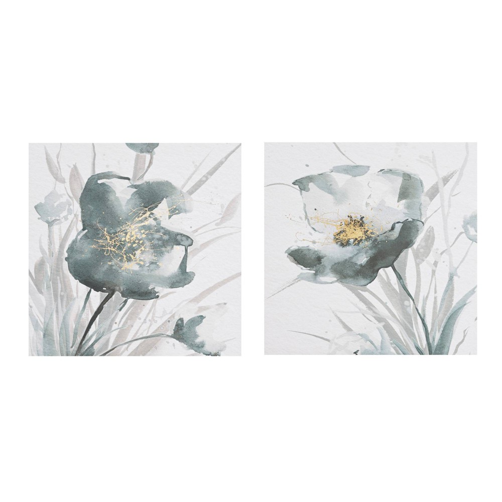Image of 2pc Ombre Floret Printed Canvas with Gold Foil Embellishments Gray