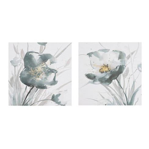 2pc Ombre Floret Printed Canvas with Gold Foil Embellishments Gray - image 1 of 4