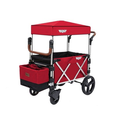 Keenz 7S Push Pull Baby Collapsible Adjustable Folding Wheeled Stroller Wagon with Protective Canopy Cover, Cupholder, Cooler for 2 Toddler Kids, Red