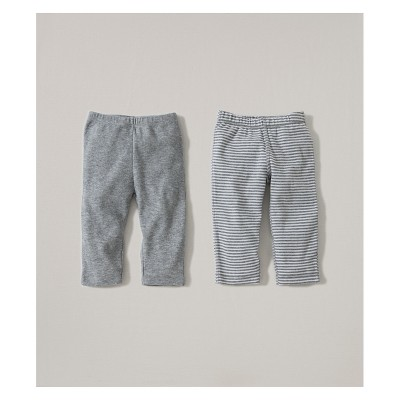 Burt's Bees Baby® Organic Cotton 2pk Pants Solid/Stripes - Heather Gray 3-6M