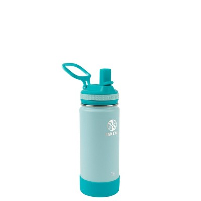 Takeya 16oz Actives Insulated Stainless Steel Kids' Water Bottle with Straw Lid - Lagoon Blue