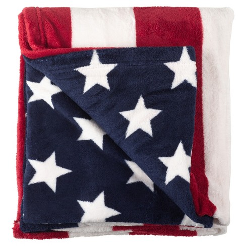 """American Flag Stars And Stripes Throw Blankets (50""""x60"""") - Saro Lifestyle - image 1 of 2"""