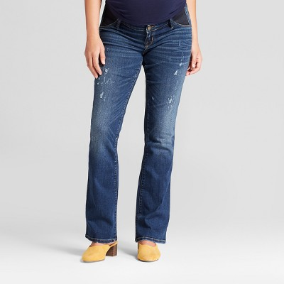 High-Rise Inset Panel Distressed Bootcut Maternity Jeans - Isabel Maternity by Ingrid & Isabel™ Medium Wash