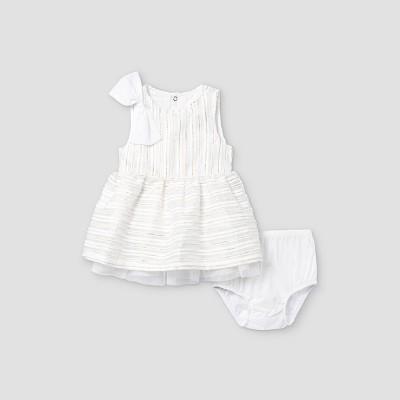 Baby Girls' Striped Dress - Cat & Jack™ Fresh White