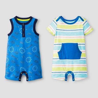 Baby Boys' Kanga Pocket and Henley Tank Romper Set - Cat & Jack™ Blue/Stripe 3-6 Months