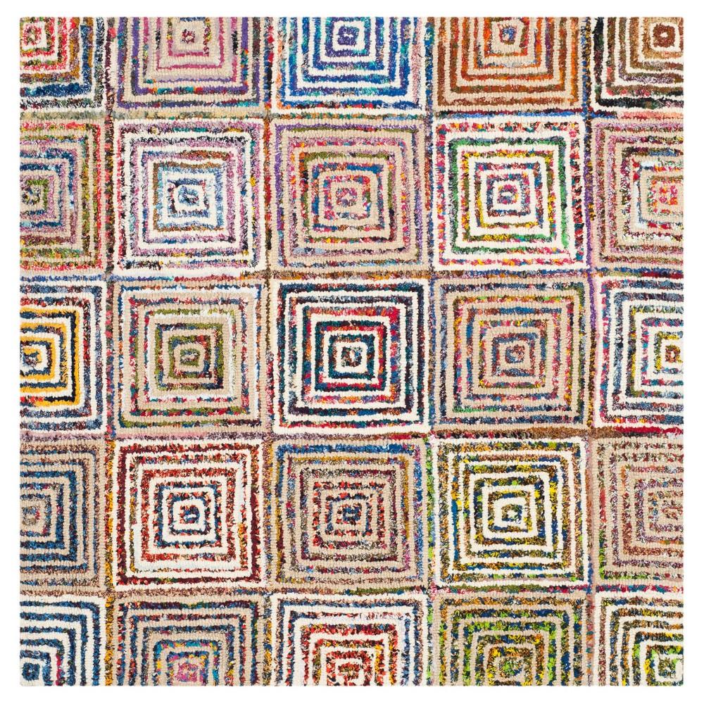 Cream Abstract Tufted Square Area Rug 8x8 Safavieh Beige