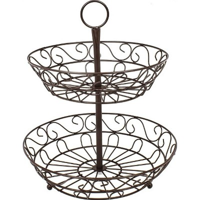Sorbus 2-Tier Countertop Fruit Basket Holder & Decorative Bowl Stand Bronze