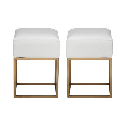Set of 2 Avalon Accent Stools White/Gold - Christopher Knight Home - image 1 of 3