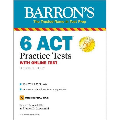 6 ACT Practice Tests with Online Test - (Barron's Test Prep) 4th Edition by  Patsy J Prince & James D Giovannini (Paperback) - image 1 of 1