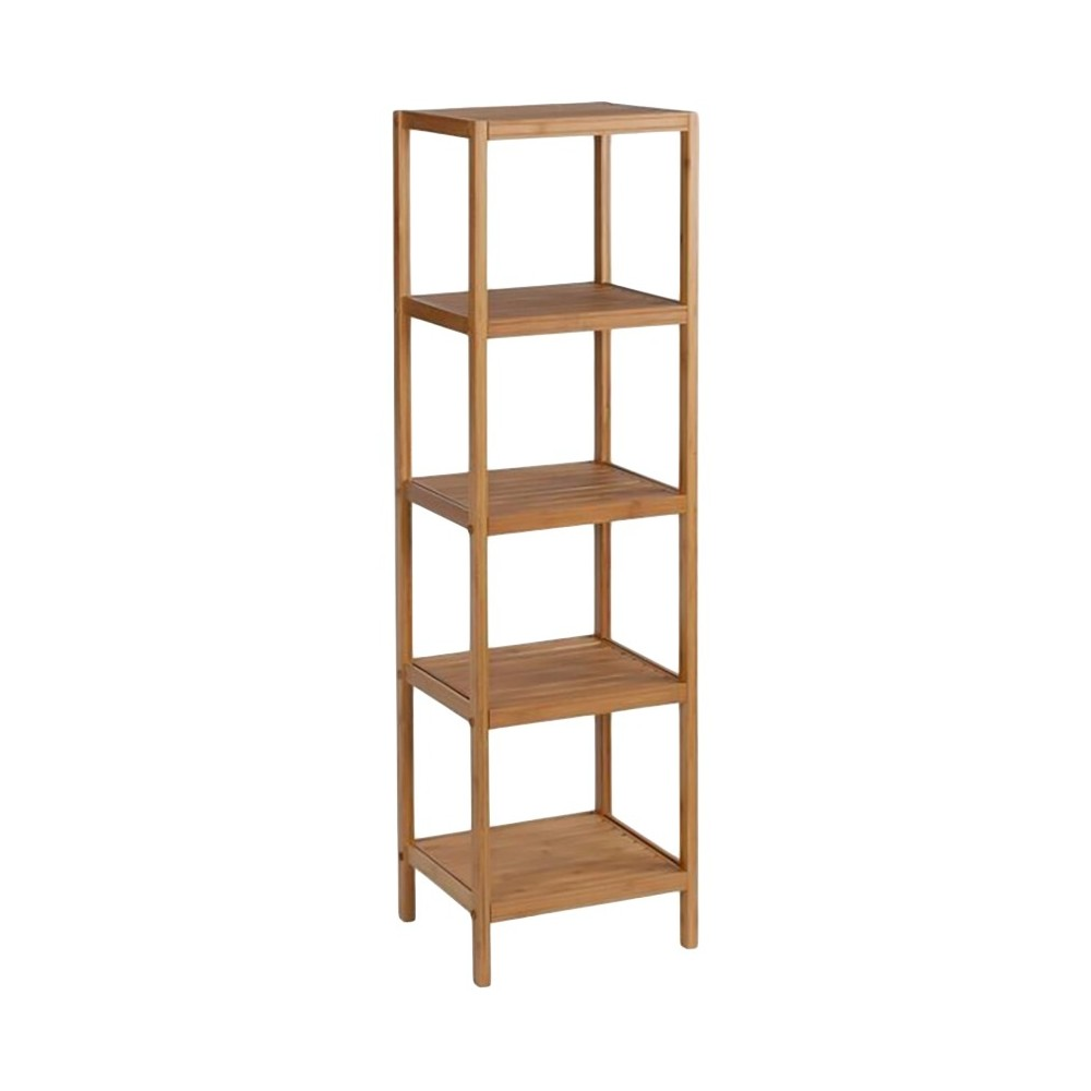 Image of 5 Shelf Bamboo tower Light Brown Bamboo - Eco Styles