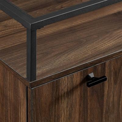 Modern Glass Top 2 Door Side Table - Saracina Home : Target