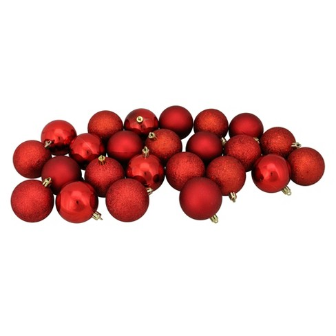 Red Christmas Ball Ornaments.Northlight 72ct Shatterproof 4 Finish Christmas Ball Ornament Set 2 5 Red