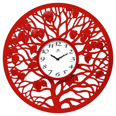 The Red Oak Decorative Wall Clock Red - Infinity Instruments® - image 1 of 3