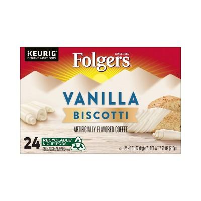 Folgers Vanilla Biscotti Medium Roast Coffee - Keurig  K-Cup Pods - 24ct