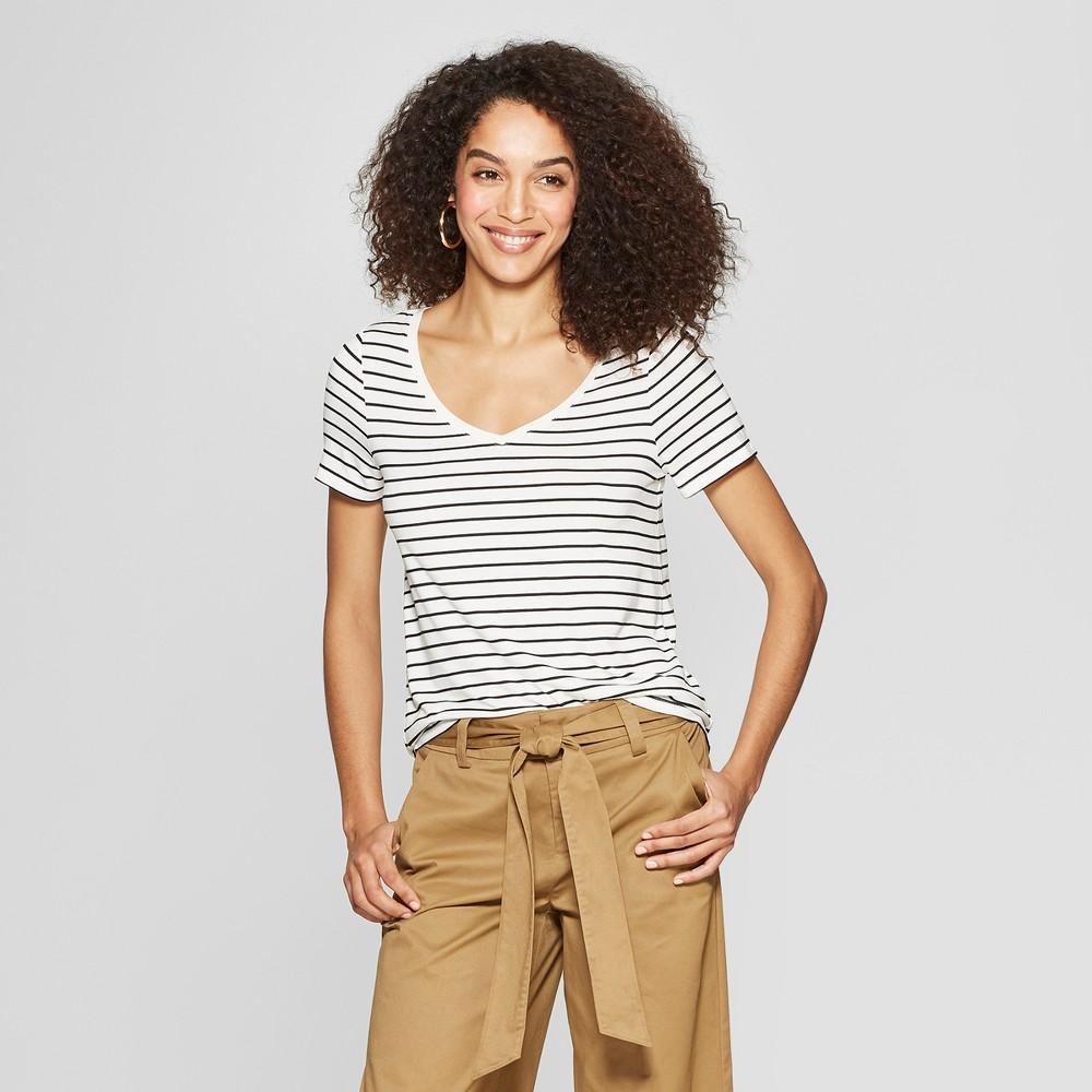 Women's Striped Short Sleeve V-Neck Any Day T-Shirt - A New Day White/Black M, Black White