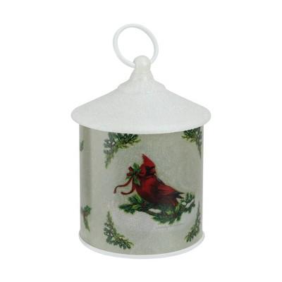"Roman 7.5"" Battery Operated LED Resting Cardinal Scene Christmas Lantern - White/Green"