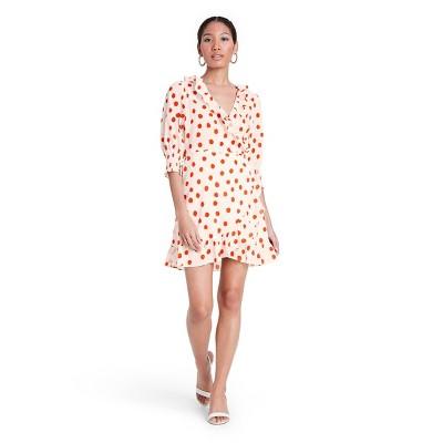 Polka Dot Puff Sleeve Ruffle Wrap Dress - RIXO for Target Cream/Red