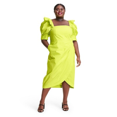 Puff Sleeve Faux Wrap Dress - Christopher John Rogers for Target Yellow