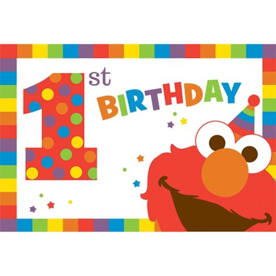 Birthday Express Sesame Street Elmo Turns One Postcard Invitations - 8 Pack